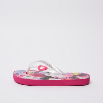 Minnie Mouse Print Flip Flops with Applique Detail Straps