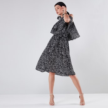 Printed Midi A-Line Dress with Ruffle Detail and Cold Shoulder Pattern