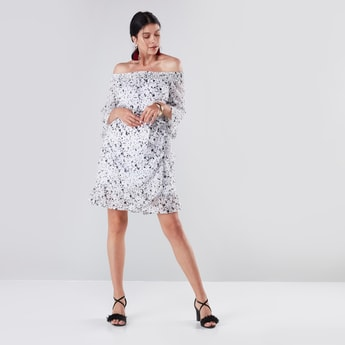 Printed Off Shoulder A-line Dress