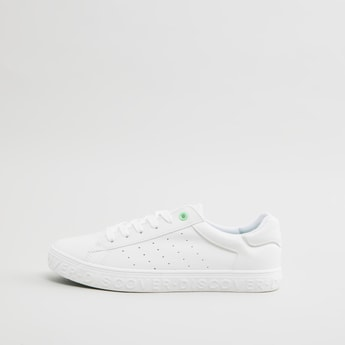 Low Top Lace Up Perforated Sneakers