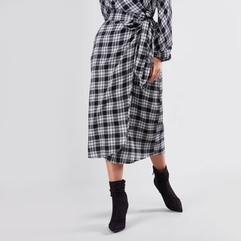 Checked Wrap Midi Skirt with Front-Knot Styling