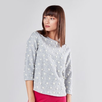 Pom Pom Detail Sweater with Round Neck and 3/4 Sleeves