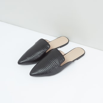 Textured Mules with Slip-On Closure