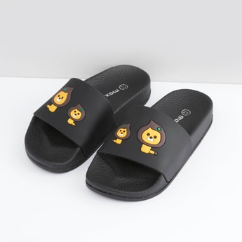 Animal Embossed Detail Slides with Textured Footbed
