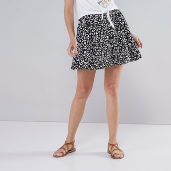 Animal Print Mini Skirt with Elasticated Waistband and Button Detail