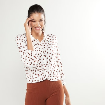 Polka Dot Printed Shirt with Long Sleeves and Concealed Placket