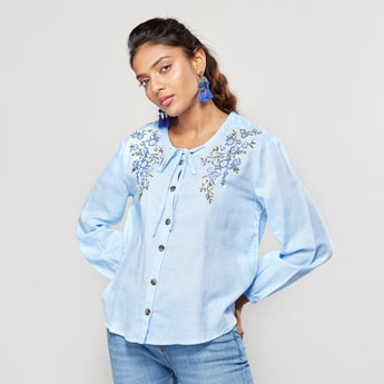Embroidered Shirt with Long Sleeves and Tie Ups