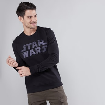 Star Wars Embossed Sweatshirt with Round Neck and Long Sleeves