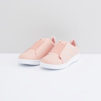 Glitter Detail Slip-On Shoes with Elasticised Band