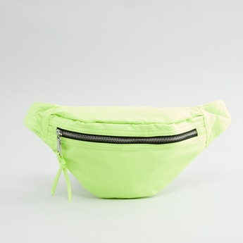 Textured Fanny Pack with Adjustable Strap and Buckle Closure