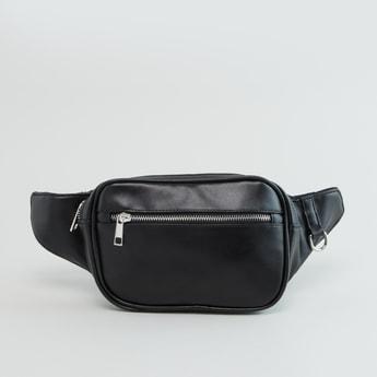 Plain Belt Bag with Zip Closure and Adjustable Strap
