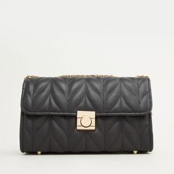 Textured Handbag with Metallic Chain