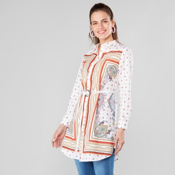 Printed Collared Tunic with Long Sleeves and Front Belt