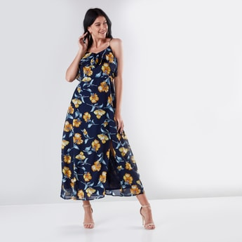 Floral Printed Maxi A-line Dress with Straps and Slit