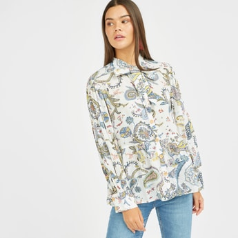 Paisley Print Top with Pussy Bow and Long Sleeves