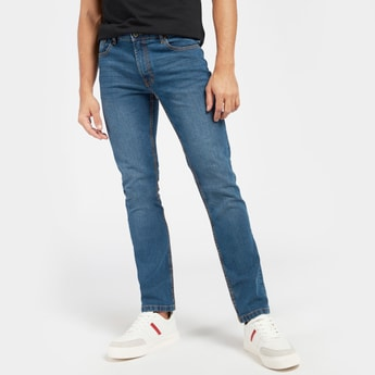 Full Length Mid-Rise Jeans with Pocket Detail and Belt Loops