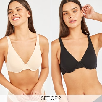 Set of 2 - Solid Basic Bra with Adjustable Straps