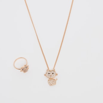 Studded Finger Ring and Necklace Set