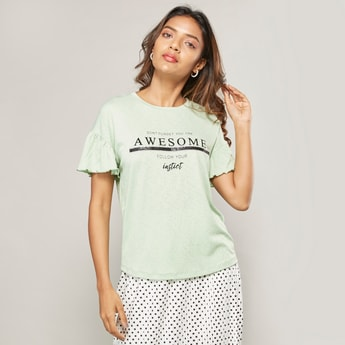 Graphic Printed T-shirt with Round Neck and Flutter Sleeves