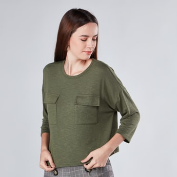 Textured Boxy Top with Long Sleeves and Pocket Detail