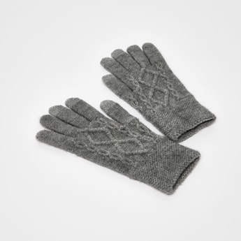 Solid Cable Knitted Gloves
