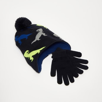 Dinosaur Textured Beanie Cap and Gloves Set