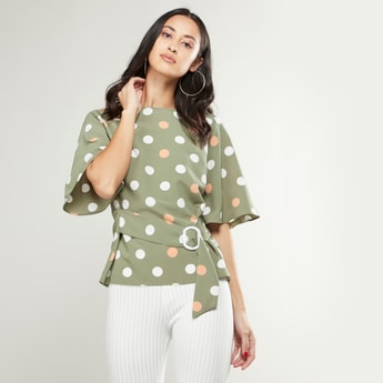 Polka Dotted Tie Front Top with Flutter Sleeves