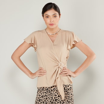 Solid V-neck Wrap Top with Ruffled Cap Sleeves and Front Knot