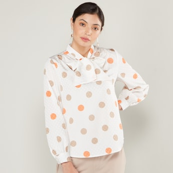 Polka Dot Print Tie Neck Top with Long Sleeves