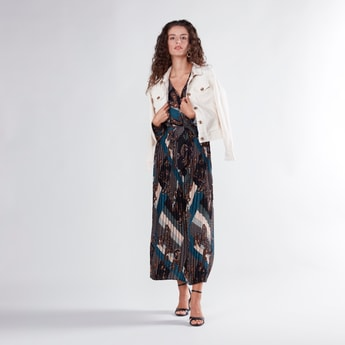 Printed Maxi A-line Wrap Dress with V-neck and Long Sleeves