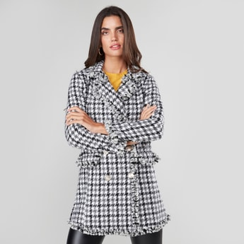 Checked Coat with Long Sleeves and Button Closure