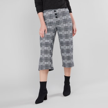 Chequered Culottes with Elasticised Waistband and Button Detail