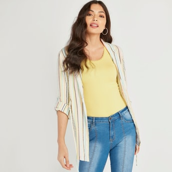 Striped Jacket with Long Sleeves and Notched Lapel