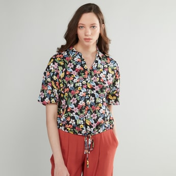 Floral Printed Crop Shirt with Short Sleeves and Tie-Ups