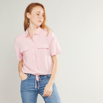 Solid Crop Shirt with Short Sleeves and Tie Ups