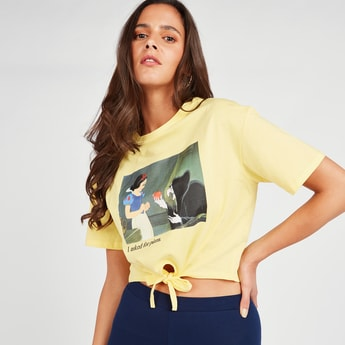Snow White Print Crop Top with V-neck and Front Knot Detail
