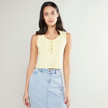 Textured Sleeveless Cropped Top with Tie Ups