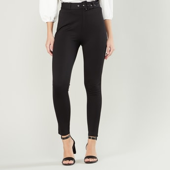 Mid-Rise Plain Treggings with Belt Loops
