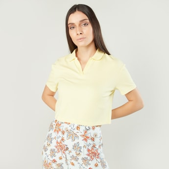 Ribbed Boxy Crop Polo Neck T-shirt with Collar and Short Sleeves