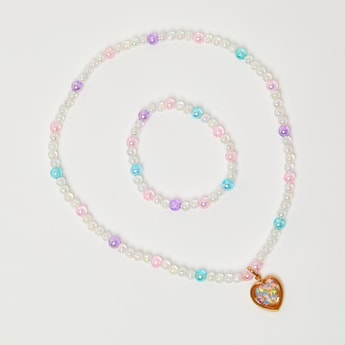 Embellished Heart Pendant Necklace and Bracelet Set