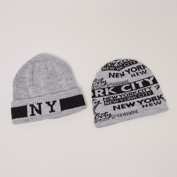 Set of 2 - Graphic Printed Beanie Cap