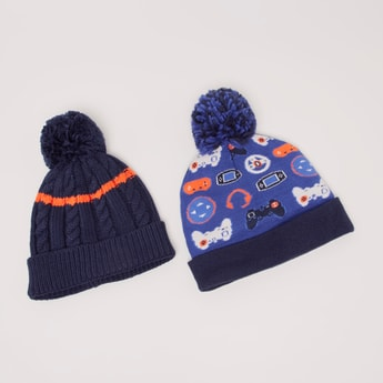 Set of 2 - Printed Beanie Cap with Pom-Pom Detail