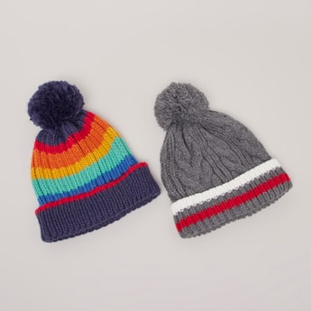 Set of 2 - Striped Beanie Cap with Pom-Pom Detail