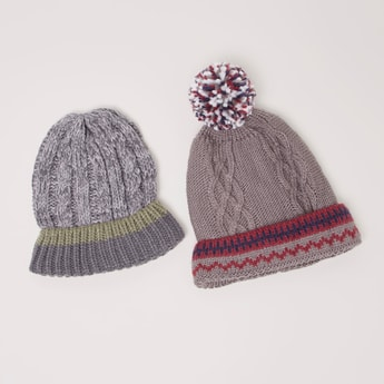 Set of 2 - Cable Knit Beanie Cap with Pom-Pom Detail