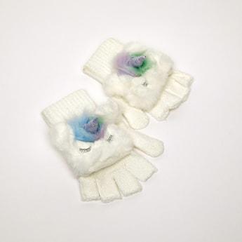 Unicorn Applique Detail Gloves with Cuffed Hem