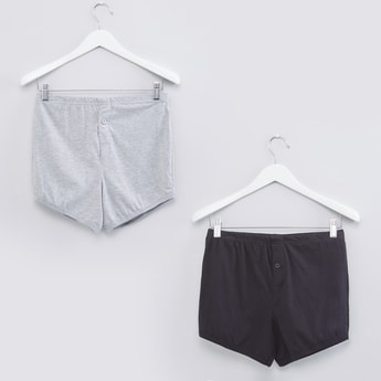 Button Detail Boxer Briefs with Elasticised Waistband - Set of 2