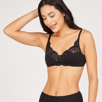 Lace Detail Non Padded Basic Bra with Adjustable Straps