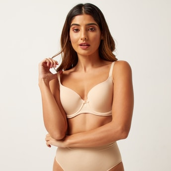 Solid T-shirt Bra with Hook and Eye Closure