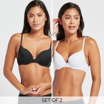 Set of 2 - Solid Padded Plunge Bra with Hook and Eye Closure