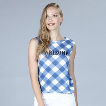 Gingham Pattern Sleeveless T-shirt with Round Neck